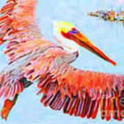 Pelican Flying Back To The Docks Art Print