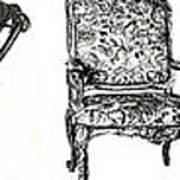 Pen And Ink Poster Of Chairs Art Print by Adendorff Design