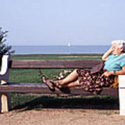 Pensioner Relaxing On A Bench Art Print