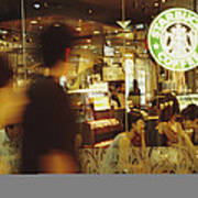 People At One Of The First Starbucks Art Print