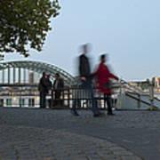 People Walk Along The Rhine River Art Print