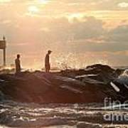 People Walking On New Buffalo Michigan Breakwater Print by Christopher Purcell