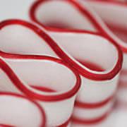 Peppermint Christmas Ribbons Art Print