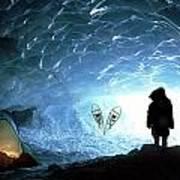 Person In Ice Cave, Appa Glacier Art Print