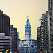 Philadelphia Cityhall At Dawn Print by Bill Cannon