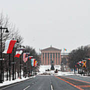 Philadelphia Parkway In The Snow Art Print