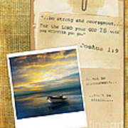 Photo Of Boat On The Sea With Bible Verse Art Print