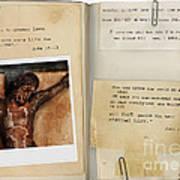 Photo Of Crucifix With Bible Verses. Art Print