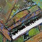 Piano Aqua Wall - Cropped Art Print by Anita Burgermeister
