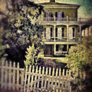 Picket Gate To Large House Art Print