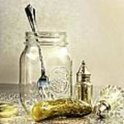 Pickle With A Jar And Antique Salt And Pepper Shakers Art Print by Sandra Cunningham