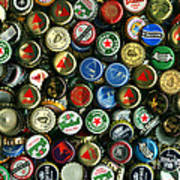 Pile Of Beer Bottle Caps . 8 To 12 Proportion Art Print by Wingsdomain Art and Photography