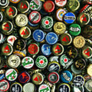 Pile Of Beer Bottle Caps . 9 To 12 Proportion Art Print