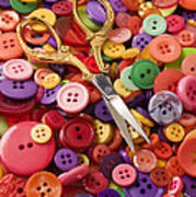 Pile Of Buttons With Scissors  Art Print by Garry Gay
