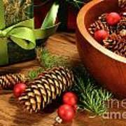 Pine Cones And Christmas Balls  Art Print