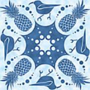 Pineapple And IIwi Hawaiian Quilt Block Art Print