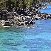 Pines Boulders And Crystal Waters Of Lake Tahoe Art Print