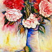 Pink And Red Peony Roses In A Tall Blue Porcelain Vase Art Print