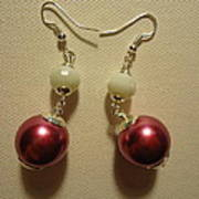 Pink And White Ball Drop Earrings Art Print by Jenna Green