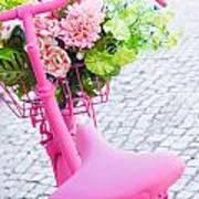 Pink Bicycle Art Print by Carlos Caetano