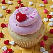 Pink Cupcake With Candy Hearts Art Print