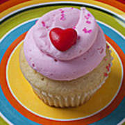 Pink Cupcake With Red Heart Art Print