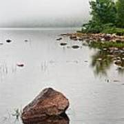 Pink Granite In Jordan Pond At Acadia Art Print by Steve Gadomski