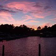 Pink N Blue Sunset On The Chesapeake Bay Va Art Print