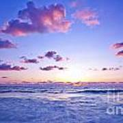 Pink Sunset On The Beach Print by Anna Om