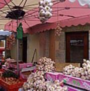 Pink Umbrella And Garlic Art Print
