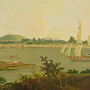 Pinnace Sailing Down The Ganges Past Monghyr Fort Art Print
