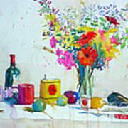 Piquillos And Agapanthes Art Print