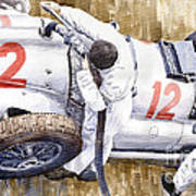 Pit Stop German Gp 1939 Mercedes Benz W154 Rudolf Caracciola Art Print