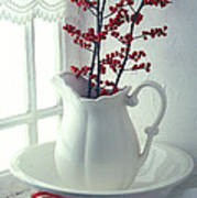 Pitcher With Red Berries  Art Print
