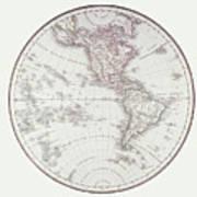 Planispheric Map Of The Western Hemisphere Art Print