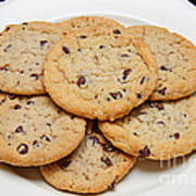 Plate Of Chocolate Chip Cookies Art Print