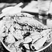 Plate Of Spicy Crab Seafood At A Table In An Outdoor Cafe At Night Kowloon Hong Kong Hksar China Art Print
