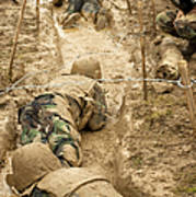 Plebes Navigate The Low Crawl Obstacle Art Print