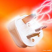 Plug With Electric Current Art Print by Victor Habbick Visions