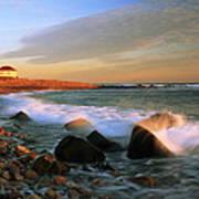 Point Judith Lighthouse Seascape Art Print