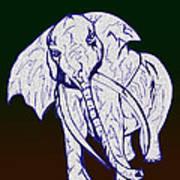 Pointillism Elephant Art Print