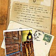 Polaroid Of Open Door To Church With A Bible Verse Art Print
