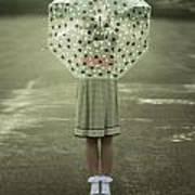 Polka Dotted Umbrella Art Print