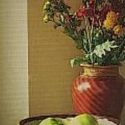 Poppies and apples still life Art Print