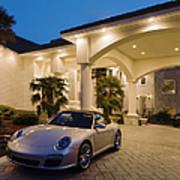 Porsche Parked At Mansion Art Print by Roberto Westbrook
