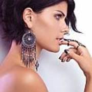 Portrait Of A Woman Wearing Jewellery Art Print