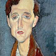 Portrait Of Franz Hellens Art Print by Modigliani