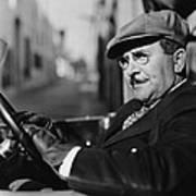 Portrait Of Man In Drivers Seat Of Car Art Print