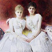 Portrait Of Marthe And Terese Galoppe Art Print by Leon Joseph Bonnat