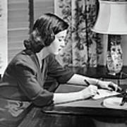 Portrait Of Woman Writing Letter At Desk Print by George Marks